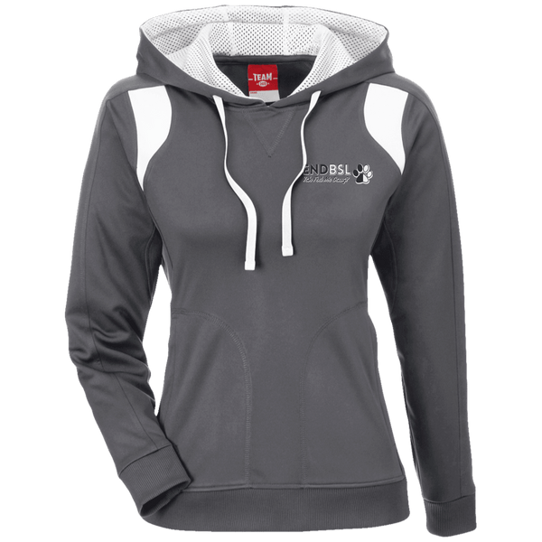 End BSL Embroidered - TT30W Team 365 Ladies' Colorblock Poly Hoodie By Little Pit Shop Graphite/White X-Small - Little Pit Shop