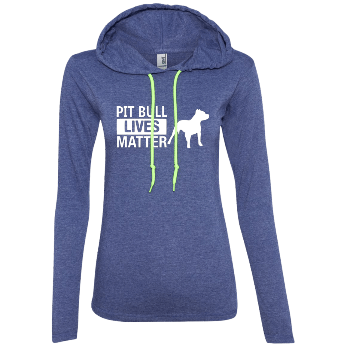 Pit Bull Lives Matter -887L Anvil Ladies' LS T-Shirt Hoodie Heather Blue/Neon Yellow Small - Little Pit Shop