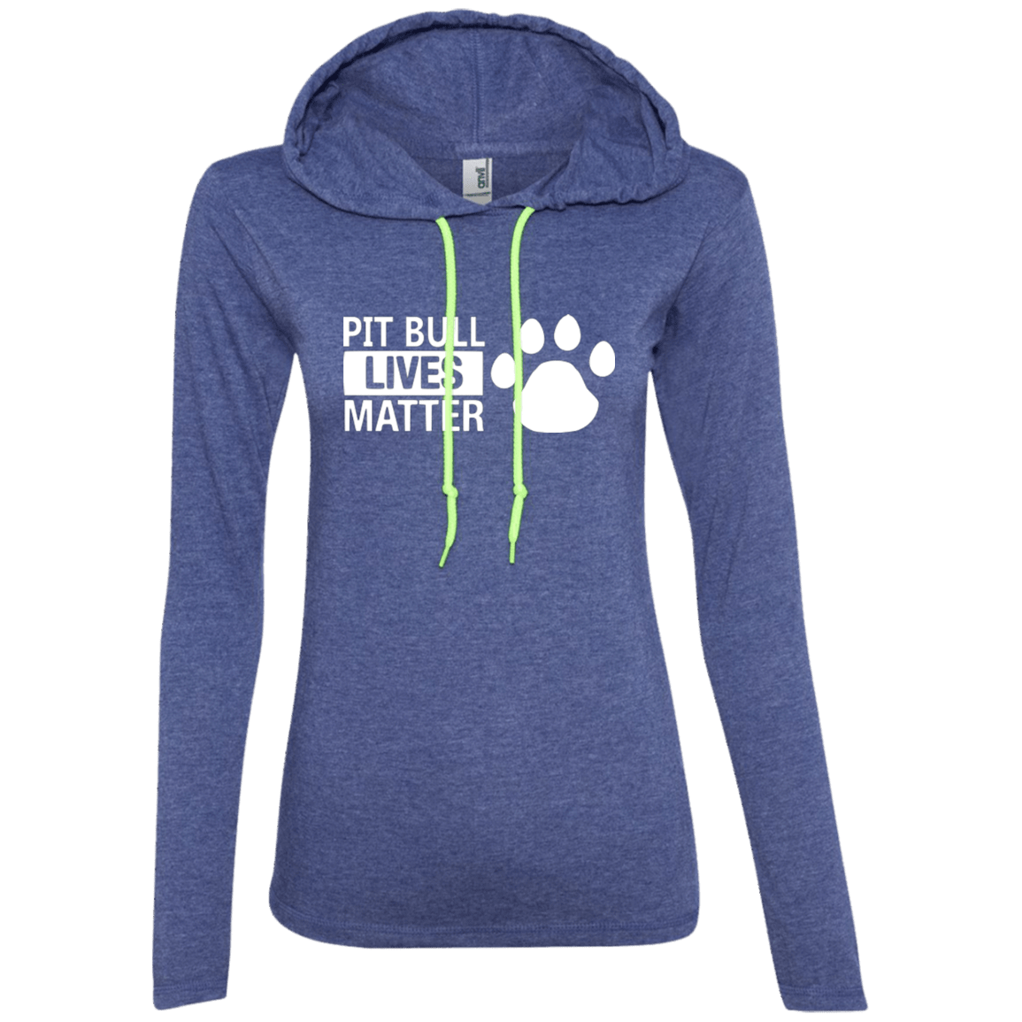 Pit Bull Lives Matter - 887L Anvil Ladies' LS T-Shirt Hoodie Heather Blue/Neon Yellow Small - Little Pit Shop