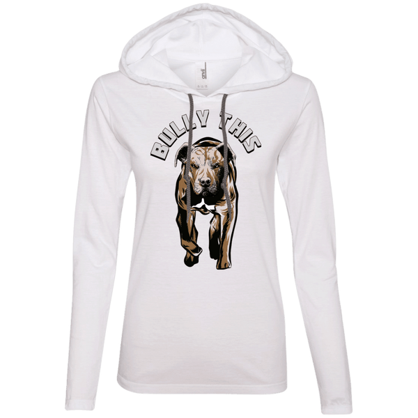 Bully This! - 887L Anvil Ladies' LS T-Shirt Hoodie White/Dark Grey Small - Little Pit Shop