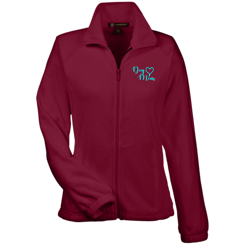 Dog Mom Teal Prnt - M990W Harriton Women's Fleece Jacket Wine X-Small - Little Pit Shop
