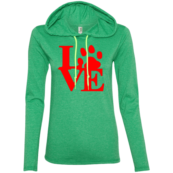 Love - 887L Anvil Ladies' LS T-Shirt Hoodie Heather Green/Neon Yellow Small - Little Pit Shop