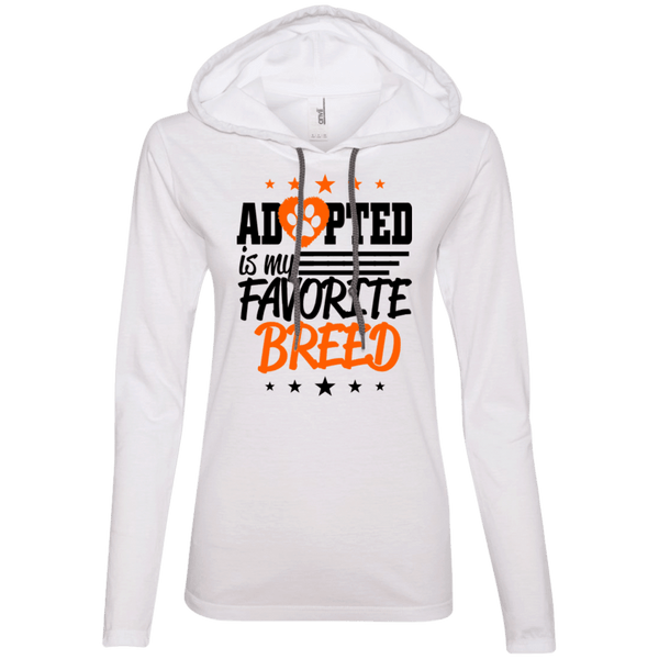 Adopted is My Favorite Breed - 887L Anvil Ladies' LS T-Shirt Hoodie White/Dark Grey Small - Little Pit Shop