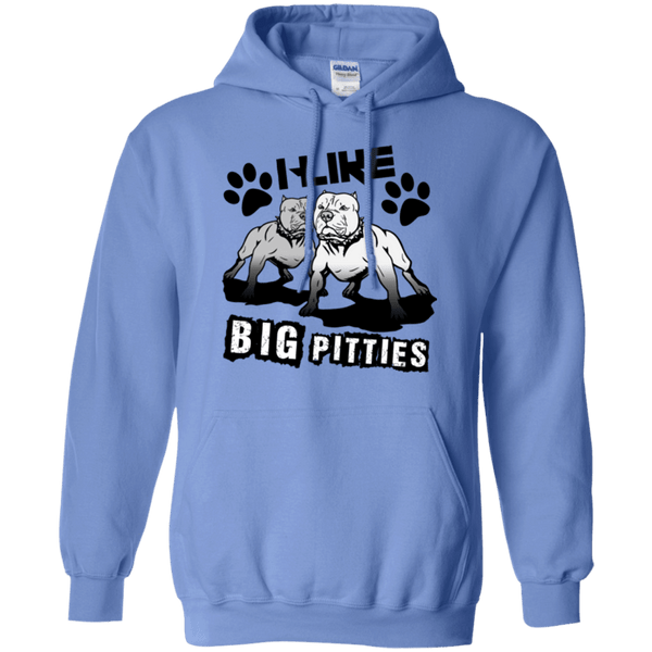 I Like Big Pitties Drk - G185 Gildan Pullover Hoodie 8 oz. Carolina Blue Small - Little Pit Shop