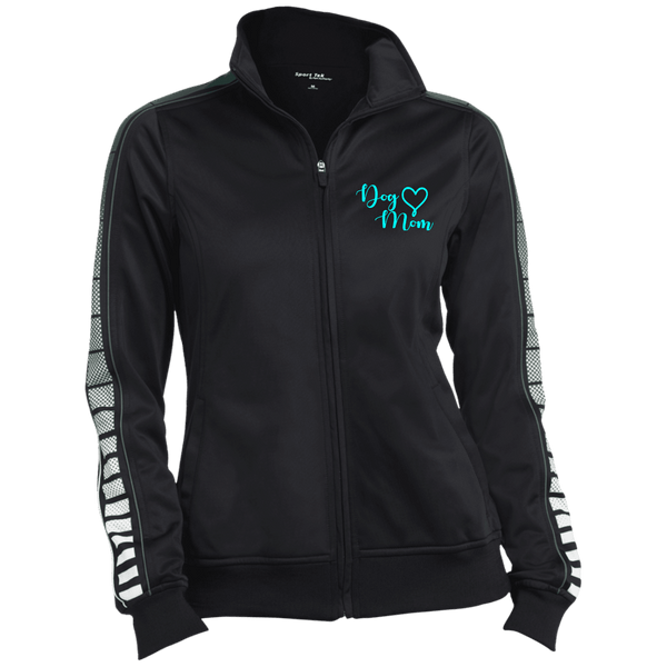 Dog Mom Teal Prnt - LST93 Sport-Tek Ladies' Dot Print Warm Up Jacket Black/Forest X-Small - Little Pit Shop