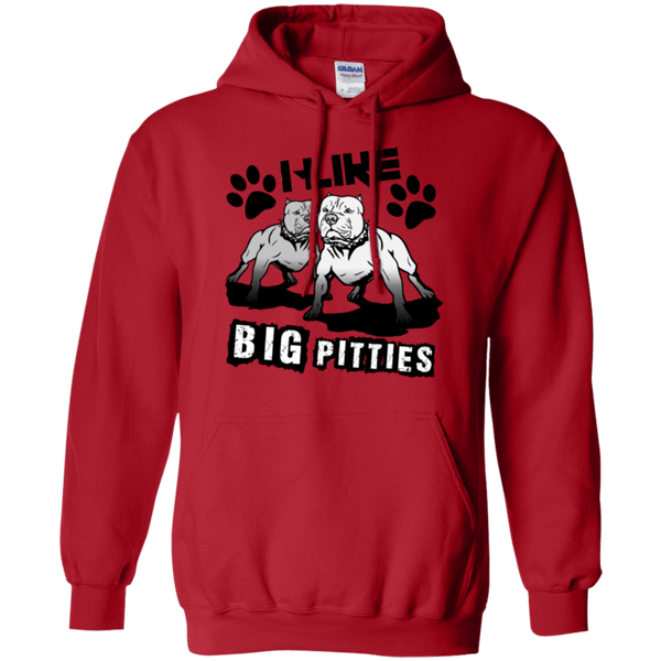 I Like Big Pitties Drk - G185 Gildan Pullover Hoodie 8 oz. Red Small - Little Pit Shop