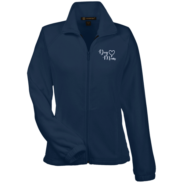 Dog Mom Wht Prnt - M990W Harriton Women's Fleece Jacket Navy X-Small - Little Pit Shop