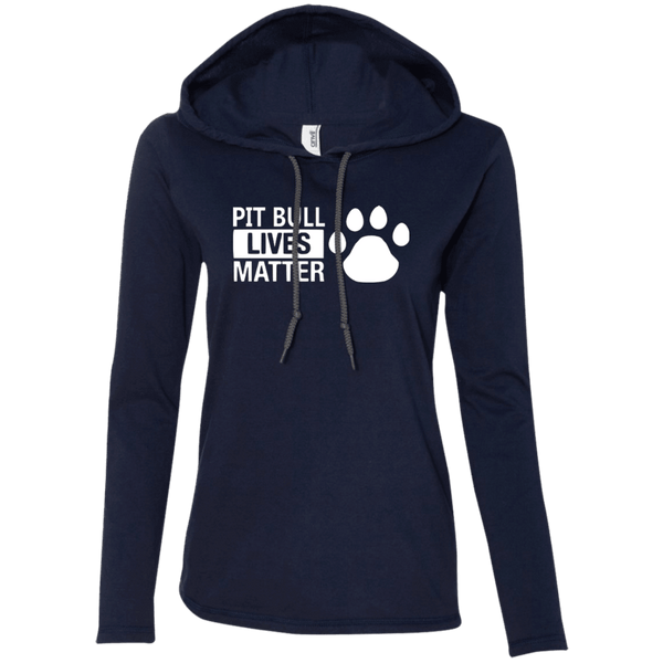 Pit Bull Lives Matter - 887L Anvil Ladies' LS T-Shirt Hoodie Navy/Dark Grey Small - Little Pit Shop