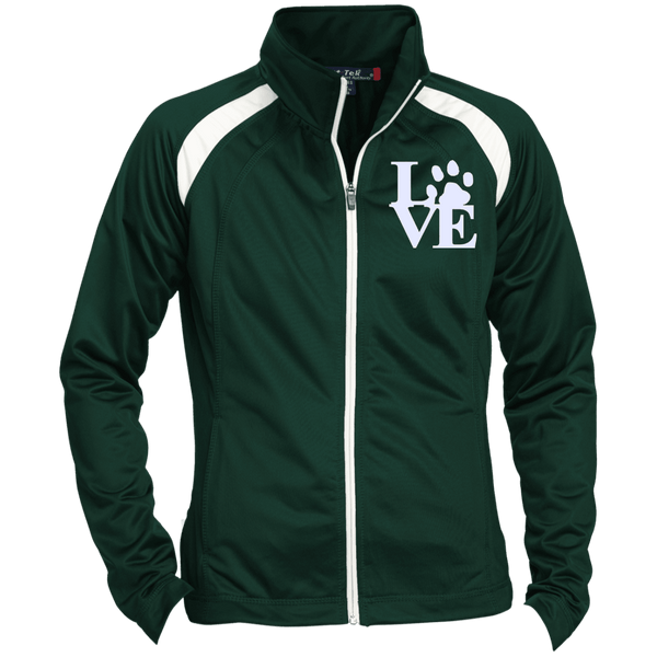 Love Paw Wht Embroidered - LST90 Sport-Tek Ladies' Raglan Sleeve Warmup Jacket Forest Green/White X-Small - Little Pit Shop