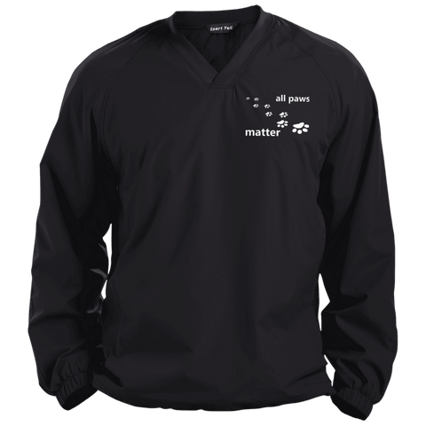 All Paws Matter - JST72 Sport-Tek Pullover V-Neck Windshirt by Little Pit Shop Black X-Small - Little Pit Shop