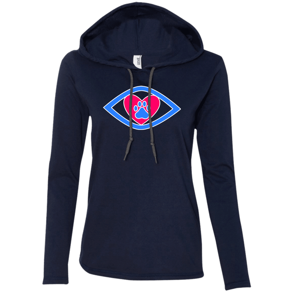 Eye-Heart-Paw - 887L Anvil Ladies' LS T-Shirt Hoodie Navy/Dark Grey Small - Little Pit Shop