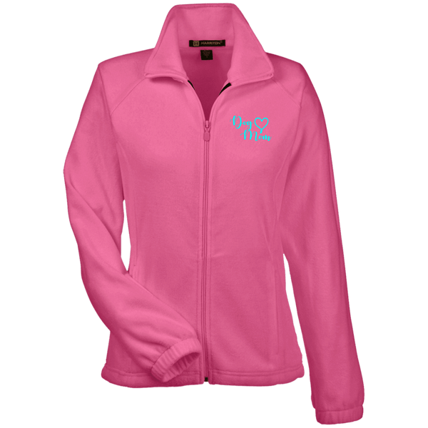 Dog Mom Teal Prnt - M990W Harriton Women's Fleece Jacket Charity Pink X-Small - Little Pit Shop