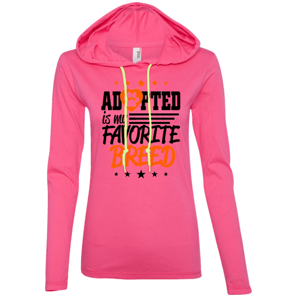 Adopted is My Favorite Breed - 887L Anvil Ladies' LS T-Shirt Hoodie Hot Pink/Neon Yellow Small - Little Pit Shop