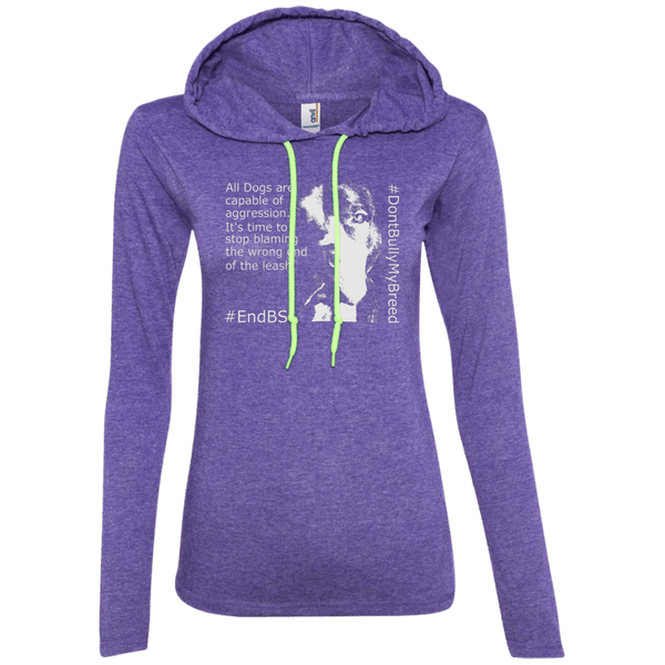 #EndBSL - 887L Anvil Ladies' LS T-Shirt Hoodie Heather Purple/Neon Yellow Small - Little Pit Shop