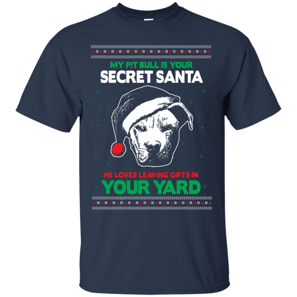 Secret Santa - G200 Gildan Ultra Cotton T-Shirt by Little Pit Shop Navy Small - Little Pit Shop