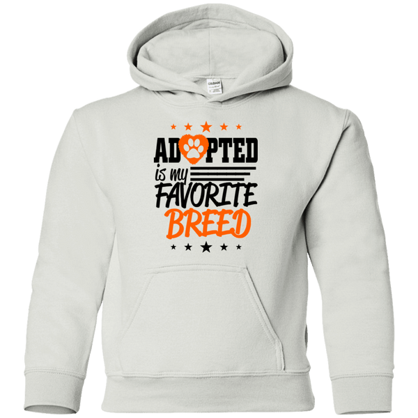 Adopted is My Favorite Breed - G185B Gildan Youth Pullover Hoodie White YS - Little Pit Shop