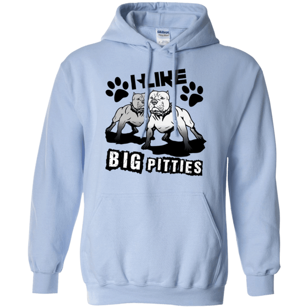 I Like Big Pitties Drk - G185 Gildan Pullover Hoodie 8 oz. Light Blue Small - Little Pit Shop