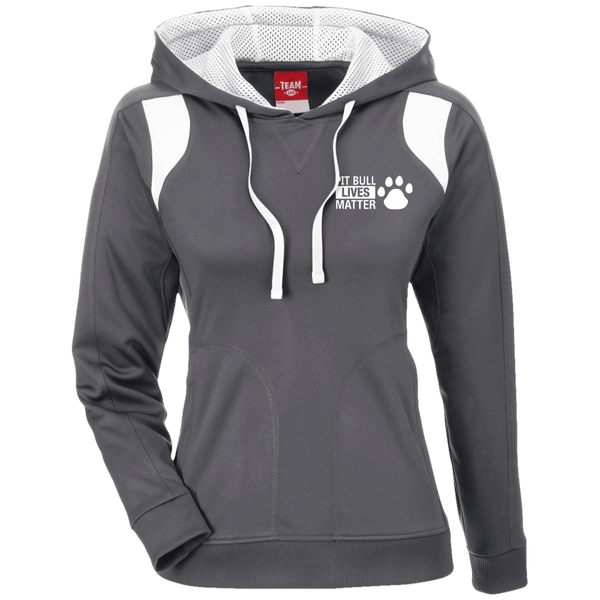 Pit Bull Lives Matter - TT30W Team 365 Ladies' Colorblock Poly Hoodie By Little Pit Shop Graphite/White X-Small - Little Pit Shop