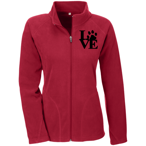 Love Paw Blck Embroidery - TT90W Team 365 Ladies' Microfleece Scarlet Red X-Small - Little Pit Shop