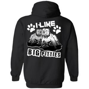 I Like Big Pitties Back Print Lt - G185 Gildan Pullover Hoodie 8 oz. Black Small - Little Pit Shop