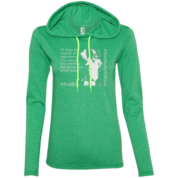 #EndBSL - 887L Anvil Ladies' LS T-Shirt Hoodie Heather Green/Neon Yellow Small - Little Pit Shop