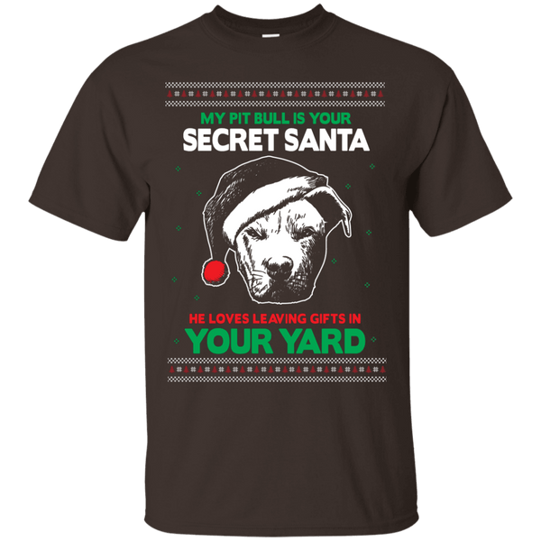 Secret Santa - G200 Gildan Ultra Cotton T-Shirt by Little Pit Shop Dark Chocolate Small - Little Pit Shop
