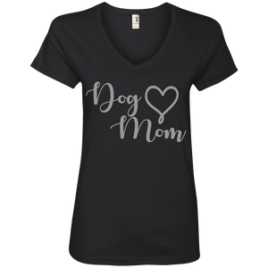 Dog Mom Grey Text - 88VL Anvil Ladies' V-Neck T-Shirt Black Small - Little Pit Shop