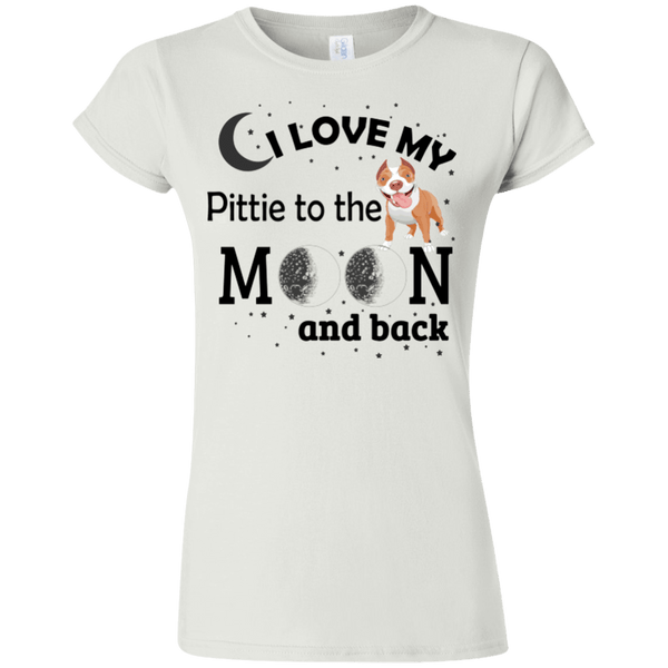 I Love My Pittie - G640L Gildan Softstyle Ladies' T-Shirt Light White Small - Little Pit Shop