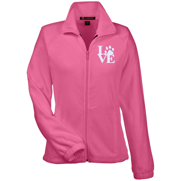 Love Paw Wht Embroidered - M990W Harriton Women's Fleece Jacket Charity Pink X-Small - Little Pit Shop