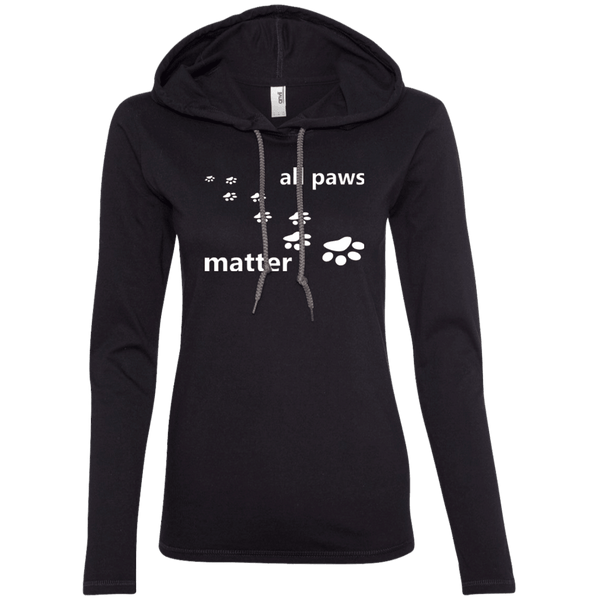 All Paws Matter - 887L Anvil Ladies' LS T-Shirt Hoodie by Little Pit Shop Black/Dark Grey Small - Little Pit Shop