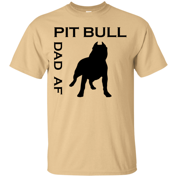 Pit Bull Dad AF - G200 Gildan Ultra Cotton T-Shirt Vegas Gold Small - Little Pit Shop