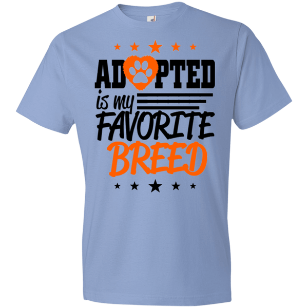 Adopted is My Favorite Breed - 990B Anvil Youth Lightweight T-Shirt 4.5 oz Light Blue YXS - Little Pit Shop