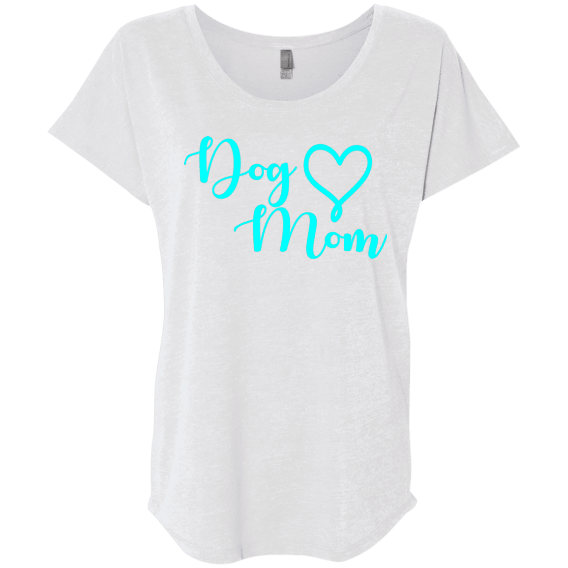 Dog Mom Teal Text - NL6760 Next Level Ladies' Triblend Dolman Sleeve Heather White X-Small - Little Pit Shop