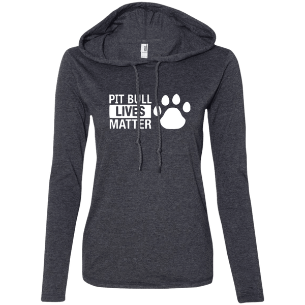 Pit Bull Lives Matter - 887L Anvil Ladies' LS T-Shirt Hoodie Heather Dark Grey/Dark Grey Small - Little Pit Shop