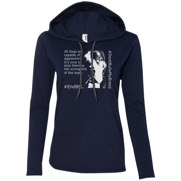 #EndBSL - 887L Anvil Ladies' LS T-Shirt Hoodie Navy/Dark Grey Small - Little Pit Shop