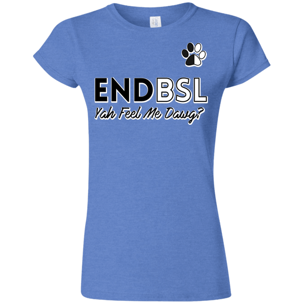 End BSL - G640L Gildan Softstyle Ladies' T-Shirt Heather Royal Small - Little Pit Shop