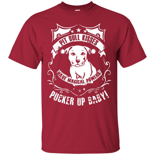 Pit Bull Kisses - G200 Gildan Ultra Cotton T-Shirt by Little Pit Shop Cardinal Small - Little Pit Shop