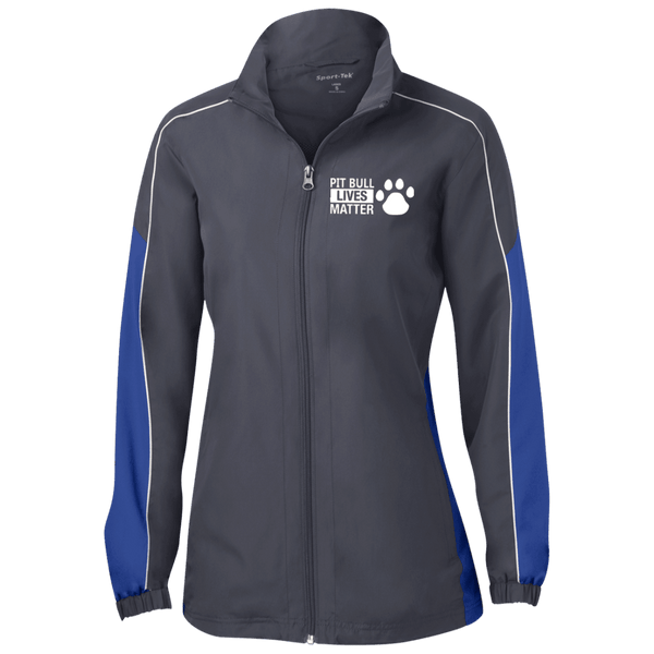 Pit Bull Lives Matter - LST61 Sport-Tek Ladies' Piped Colorblock Windbreaker by Little Pit Shop Graphite/True Royal/White X-Small - Little Pit Shop