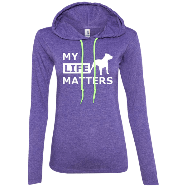 My Life Matters - 887L Anvil Ladies' LS T-Shirt Hoodie Heather Purple/Neon Yellow Small - Little Pit Shop