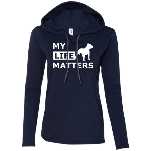 My Life Matters - 887L Anvil Ladies' LS T-Shirt Hoodie Navy/Dark Grey Small - Little Pit Shop