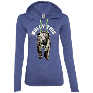 Bully This! - 887L Anvil Ladies' LS T-Shirt Hoodie Heather Blue/Neon Yellow Small - Little Pit Shop