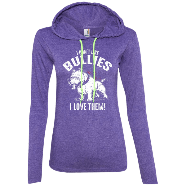 I Don't Like Bullies! - 887L Anvil Ladies' LS T-Shirt Hoodie Heather Purple/Neon Yellow Small - Little Pit Shop