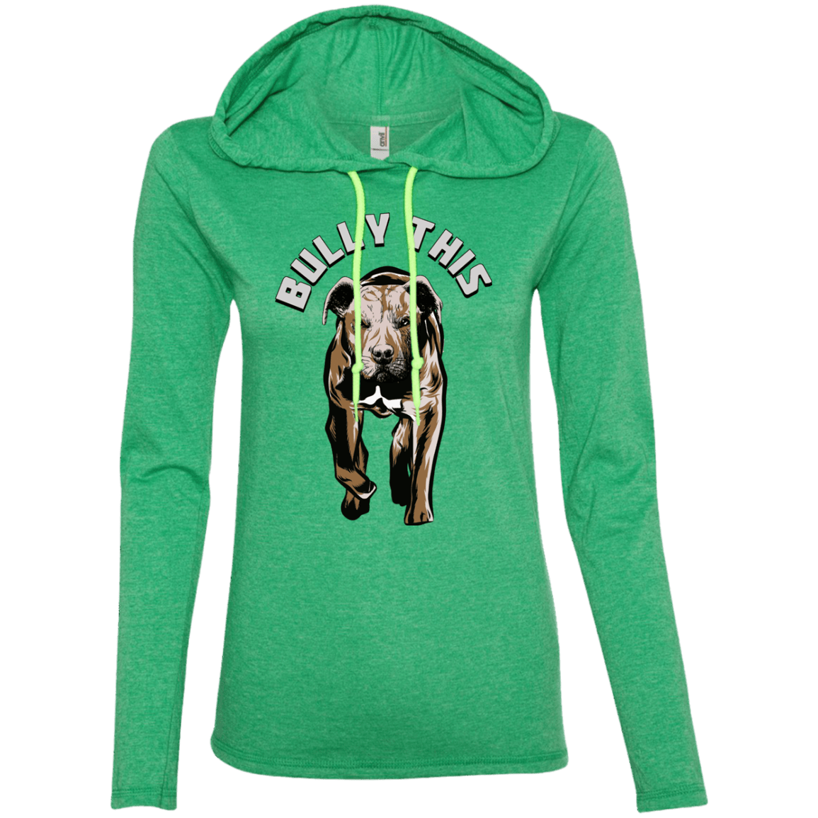Bully This! - 887L Anvil Ladies' LS T-Shirt Hoodie Heather Green/Neon Yellow Small - Little Pit Shop