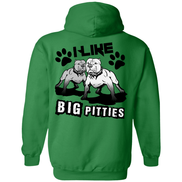 I Like Big Pitties Back Print Drk - G185 Gildan Pullover Hoodie 8 oz. Irish Green Small - Little Pit Shop