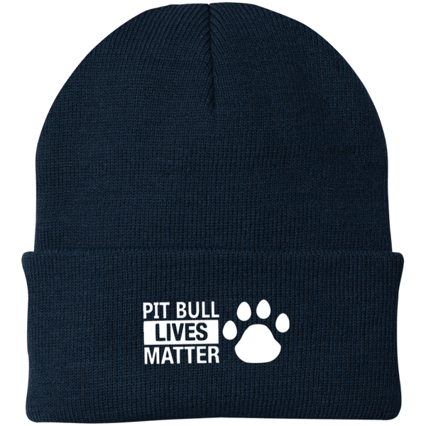 Pit Bull Lives Matter - CP90 Port Authority Knit Cap by Little Pit Shop Navy One Size - Little Pit Shop