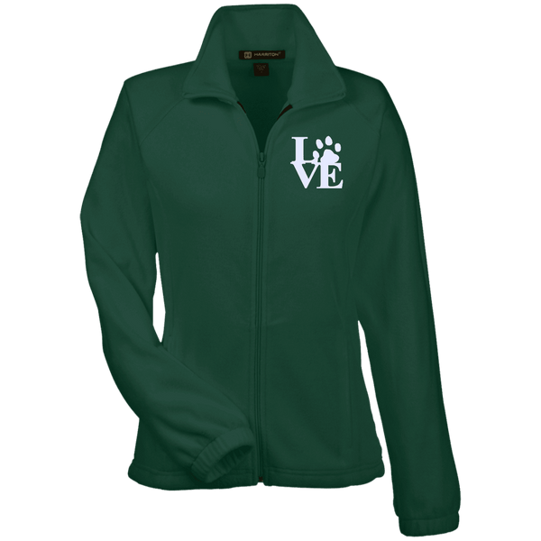Love Paw Wht Embroidered - M990W Harriton Women's Fleece Jacket Hunter X-Small - Little Pit Shop