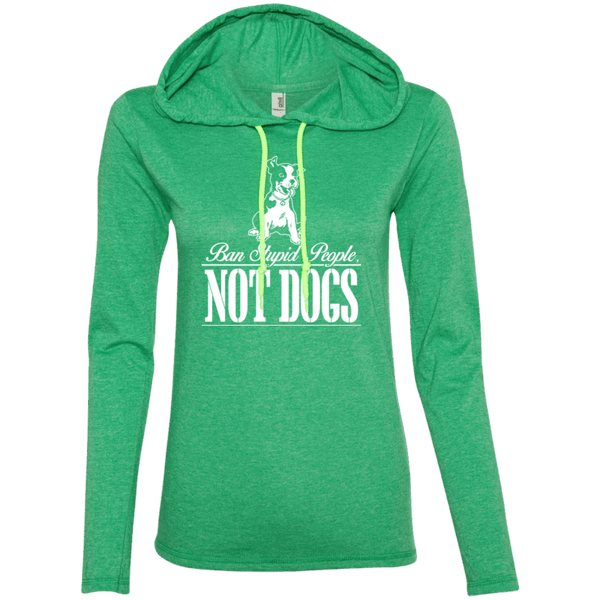 Ban Stupid People Not Dogs - 887L Anvil Ladies' LS T-Shirt Hoodie Heather Green/Neon Yellow Small - Little Pit Shop