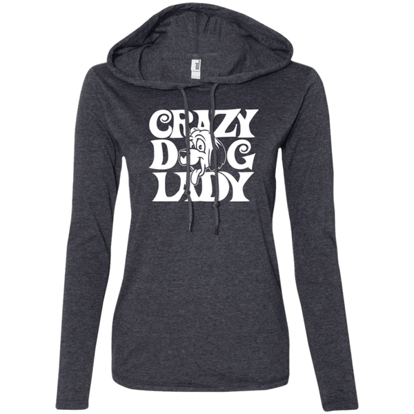 Crazy Dog Lady - 887L Anvil Ladies' LS T-Shirt Hoodie Heather Dark Grey/Dark Grey Small - Little Pit Shop