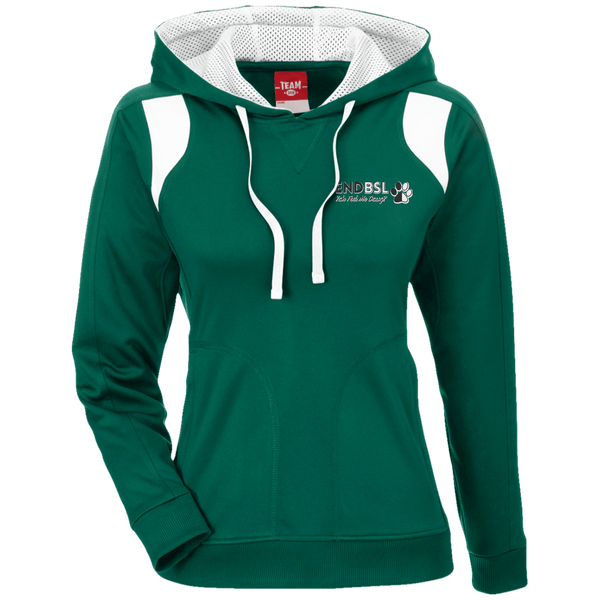 End BSL Embroidered - TT30W Team 365 Ladies' Colorblock Poly Hoodie By Little Pit Shop Forest/White X-Small - Little Pit Shop