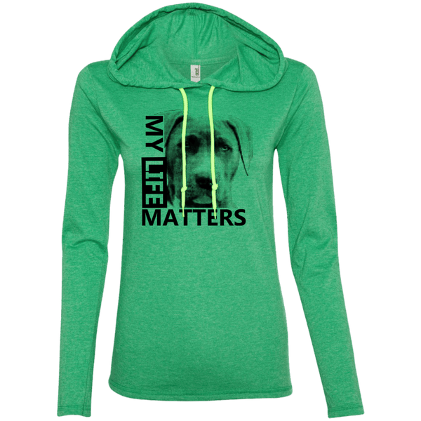 My Life Matters - 887L Anvil Ladies' LS T-Shirt Hoodie Heather Green/Neon Yellow Small - Little Pit Shop